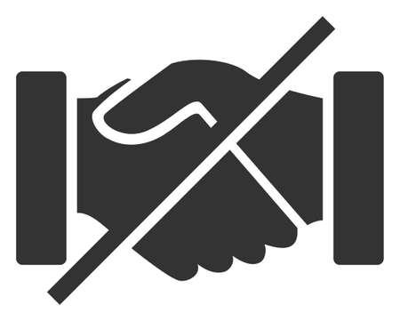 Raster no handshakes v2 flat icon. Raster pictogram style is a flat symbol no handshakes v2 icon on a white background. Imagens