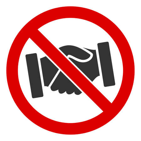 Raster no handshakes flat icon. Raster pictogram style is a flat symbol no handshakes icon on a white background. 写真素材