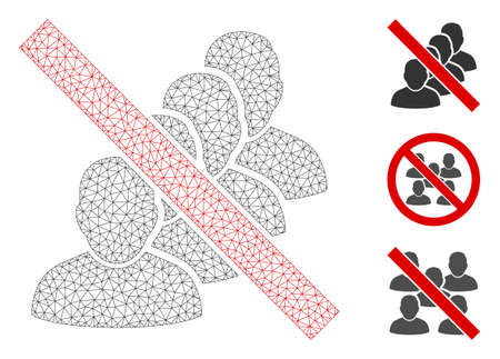Mesh forbidden people queue polygonal icon vector illustration. Model is based on forbidden people queue flat icon. Triangle mesh forms abstract forbidden people queue flat model.