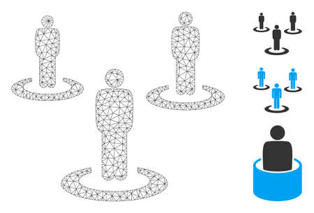 Mesh people isolation polygonal icon vector illustration. Model is based on people isolation flat icon. Triangle mesh forms abstract people isolation flat carcass.