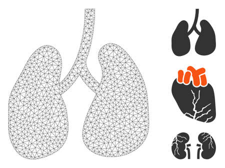 Mesh lungs polygonal icon vector illustration. Carcass model is based on lungs flat icon. Triangular mesh forms abstract lungs flat carcass. Векторная Иллюстрация