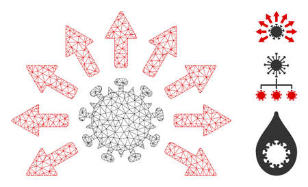Mesh virus distribution polygonal 2d vector illustration. Carcass model is created from virus distribution flat icon. Triangular network forms abstract virus distribution flat model.