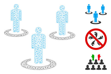 Mesh social isolation polygonal icon vector illustration. Carcass model is based on social isolation flat icon. Triangle network forms abstract social isolation flat carcass.