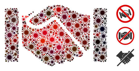 Mosaic acquisition handshake united from SARS virus elements in different sizes, red colors. Vector viral elements are grouped into abstract mosaic acquisition handshake icon.