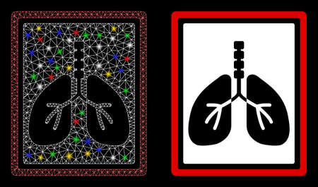 Bright mesh lungs x-ray photo with lightspot effect. Abstract illuminated model of lungs x-ray photo icon. White wire frame polygonal mesh lungs x-ray photo and base icon.