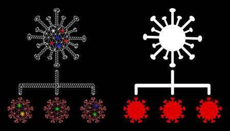 Flare mesh virus replication with glare effect. Abstract illuminated model of virus replication icon. White wire carcass triangular mesh virus replication and base icon.  イラスト・ベクター素材