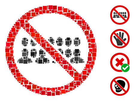 Mosaic Stop people group icon united from square elements in different sizes and color hues. Vector square elements are composed into abstract composition stop people group icon. Bonus icons is added.