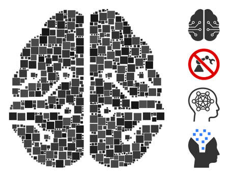 Collage Electronic brain icon united from square items in random sizes and color hues. Vector square elements are united into abstract composition electronic brain icon. Bonus pictograms are added.