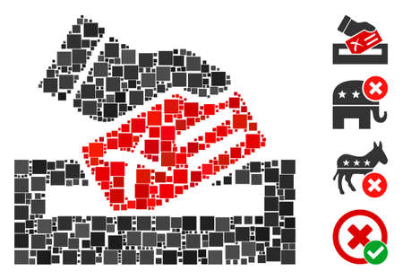 Collage Protest vote icon organized from square items in different sizes and color hues. Vector square items are arranged into abstract collage protest vote icon. Bonus icons are added.