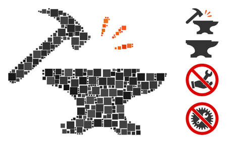 Collage Smithy icon composed of square items in random sizes and color hues. Vector square items are united into abstract illustration smithy icon. Bonus pictograms are placed.