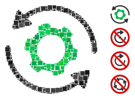 Collage Infinite rotation icon organized from square elements in different sizes and color hues. Vector square elements are organized into abstract collage infinite rotation icon.