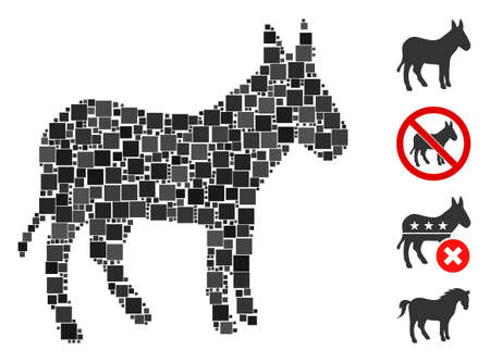 Collage Donkey icon composed of square items in variable sizes and color hues. Vector square elements are composed into abstract collage donkey icon. Bonus pictograms are placed. Ilustração