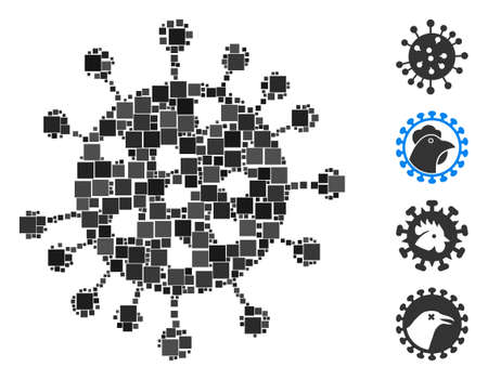 Mosaic SARS virus icon composed of square items in random sizes and color hues. Vector square items are composed into abstract illustration SARS virus icon. Bonus pictograms are added.