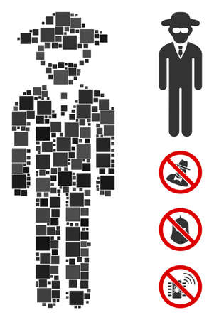 Collage Security agent icon composed of square items in variable sizes and color hues. Vector square elements are composed into abstract collage security agent icon. Bonus pictograms are placed. Illustration