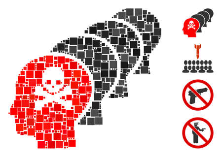 Mosaic Kill all humans icon united from square items in random sizes and color hues. Vector square items are united into abstract mosaic kill all humans icon. Bonus pictograms are placed. Çizim