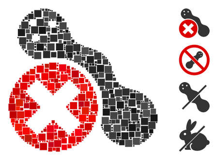 Collage Forbidden peanut icon organized from square items in random sizes and color hues. Vector square elements are organized into abstract collage forbidden peanut icon. Bonus pictograms are placed.