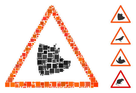 Mosaic Pork warning icon designed from square items in different sizes and color hues. Vector square items are combined into abstract mosaic pork warning icon. Bonus pictograms are added.