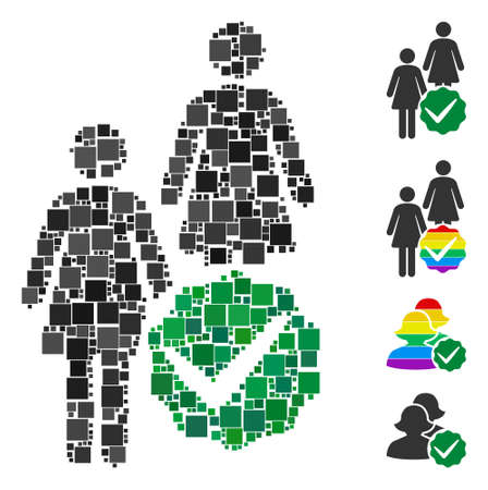 Mosaic Women only icon organized from square elements in different sizes and color hues. Vector square elements are united into abstract mosaic women only icon. Bonus icons are added.