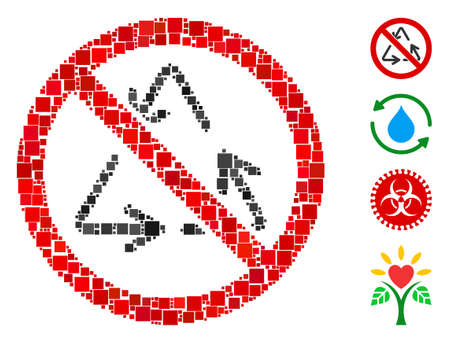 Mosaic No recycling icon composed of square elements in random sizes and color hues. Vector square elements are composed into abstract collage no recycling icon. Bonus pictograms are placed.