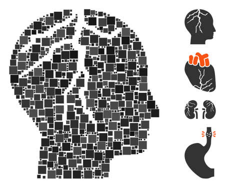 Mosaic Brain cancer icon composed of square elements in random sizes and color hues. Vector square elements are united into abstract mosaic brain cancer icon. Bonus icons are placed.