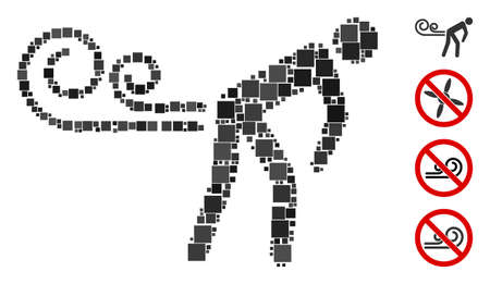 Mosaic Farting wind icon constructed from square items in various sizes and color hues. Vector square items are arranged into abstract mosaic farting wind icon. Bonus icons are placed.
