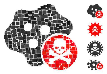 Mosaic Bactericidal toxin icon composed of square items in random sizes and color hues. Vector square elements are composed into abstract composition bactericidal toxin icon. Bonus icons are placed.