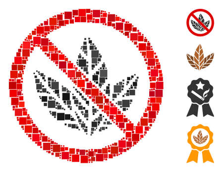 Collage No tobacco icon organized from square elements in random sizes and color hues. Vector square elements are organized into abstract collage no tobacco icon. Bonus pictograms are added.