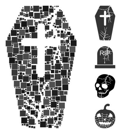 Mosaic Old coffin icon united from square elements in various sizes and color hues. Vector square elements are organized into abstract mosaic old coffin icon. Bonus icons are placed.
