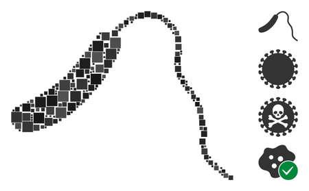 Icône de collage Vibrio cholerae unie à partir d'éléments carrés de tailles et de teintes aléatoires. Les éléments carrés vectoriels sont regroupés en une icône de collage abstrait Vibrio cholerae. Des icônes de bonus sont ajoutées.