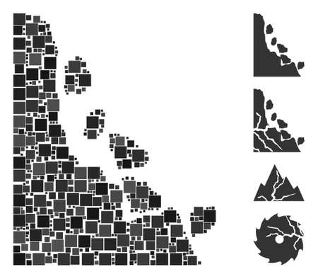Mosaic Unstable stones icon organized from square items in different sizes and color hues. Vector square items are combined into abstract mosaic unstable stones icon. Bonus pictograms are added.