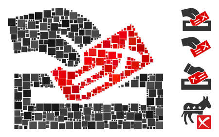 Mosaic Protest poll icon composed of square items in different sizes and color hues. Vector square items are arranged into abstract mosaic protest poll icon. Bonus pictograms are added.