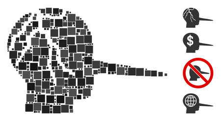 Collage Corrupted liar icon united from square items in different sizes and color hues. Vector square items are grouped into abstract composition corrupted liar icon. Bonus pictograms are added.