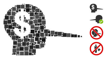 Mosaic Financial scammer icon composed of square items in various sizes and color hues. Vector square items are arranged into abstract composition financial scammer icon. Bonus icons are placed.