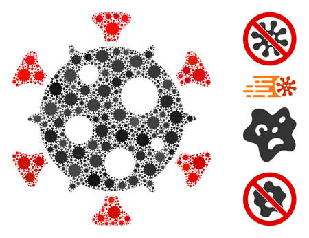 Collage virus united from SARS virus icons in variable sizes and color hues. Vector infection icons are combined into abstract composition virus icon. Some bonus icons are added.