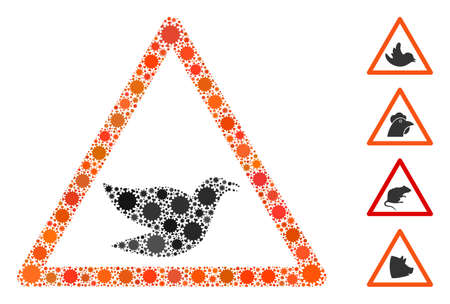 Collage bird warning designed from SARS virus items in variable sizes and color hues. Vector viral items are organized into abstract collage bird warning icon. Some bonus icons are added.