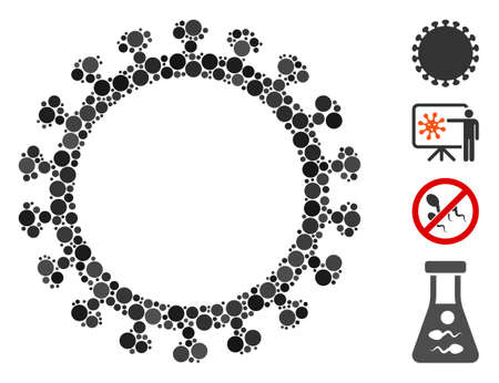 Collage Virus shell icon organized from round elements in different sizes, positions and proportions. Vector round spots are organized into abstract collage virus shell icon.