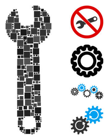 Mosaic Wrench icon organized from square items in variable sizes and color hues. Vector square items are grouped into abstract mosaic wrench icon. Bonus pictograms are placed.