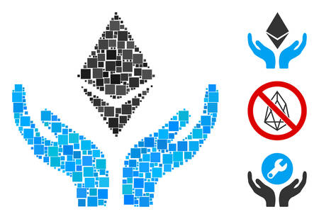 Collage Ethereum maintenance hands icon united from square elements in random sizes and color hues. Vector square parts are united into abstract collage Ethereum maintenance hands icon. Vettoriali