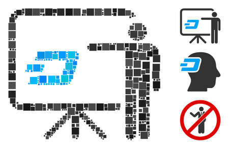 Mosaic Dash board presentation person icon composed of square elements in various sizes and color hues. Vector square items are composed into abstract illustration Dash board presentation person icon. 向量圖像