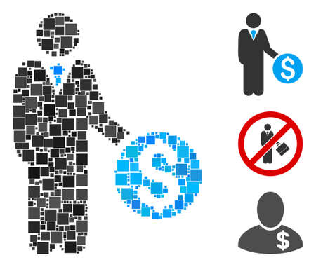 Collage Banker icon united from square items in random sizes and color hues. Vector square items are composed into abstract collage banker icon. Bonus pictograms are added.