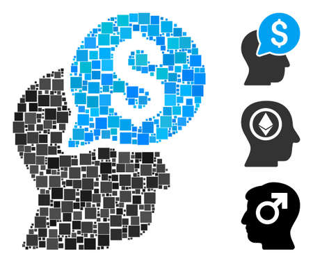 Collage Businessman think icon united from square items in different sizes and color hues. Vector square items are united into abstract composition businessman think icon. Bonus icons are placed.