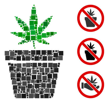 Mosaic Cannabis pot icon organized from square items in different sizes and color hues. Vector square items are organized into abstract mosaic cannabis pot icon. Bonus pictograms are added.