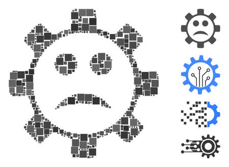 Mosaic Service gear sad smiley icon composed of square items in variable sizes and color hues. Vector square items are arranged into abstract mosaic service gear sad smiley icon.