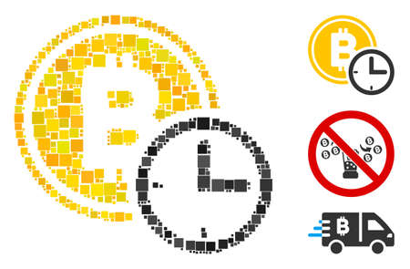 Mosaic Bitcoin credit time icon constructed from square items in random sizes and color hues. Vector square items are organized into abstract mosaic Bitcoin credit time icon. Bonus icons are added.