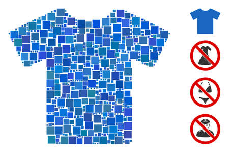 Mosaic T-shirt icon designed from square elements in random sizes and color hues. Vector square elements are arranged into abstract composition T-shirt icon. Bonus icons are added.