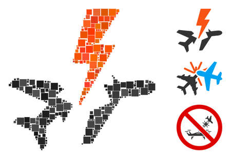 Mosaic Aircraft disaster icon designed from square items in different sizes and color hues. Vector square items are composed into abstract mosaic aircraft disaster icon. Bonus icons are added. Illustration