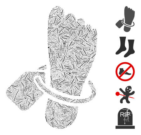 Line collage morgue tagged foot icon united from narrow elements in various sizes and color hues. Vector line elements are grouped into abstract collage morgue tagged foot icon. 일러스트