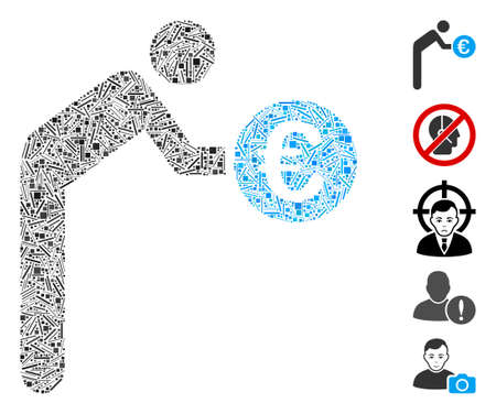Hatch collage euro banker icon composed of narrow elements in various sizes and color hues. Vector hatch elements are grouped into abstract collage euro banker icon. Bonus pictograms are placed. Illustration