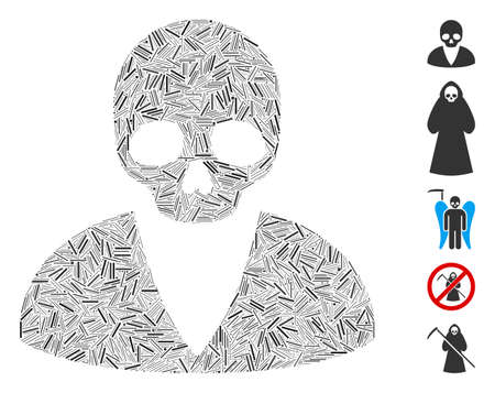 Hatch collage death man icon composed of straight elements in different sizes and color hues. Vector hatch elements are united into abstract collage death man icon. Bonus pictograms are added.