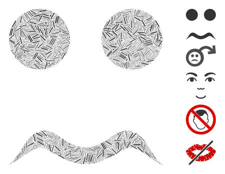 Line collage worried smiley icon united from narrow elements in variable sizes and color hues. Vector line items are united into abstract collage worried smiley icon. Bonus pictograms are placed. Ilustração Vetorial
